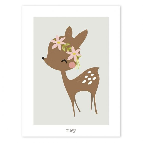 Fawn And Flowers Poster – 30×40 cm