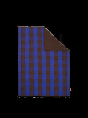 Grand Quiltad pläd Choco/Bright Blue