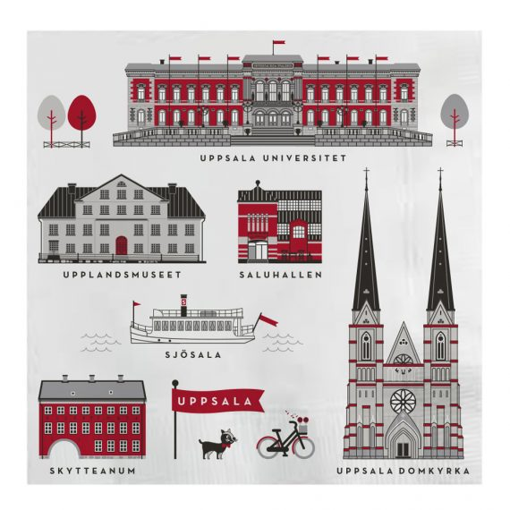 Houses of Uppsala Servett 16,5×16,5 cm Röd