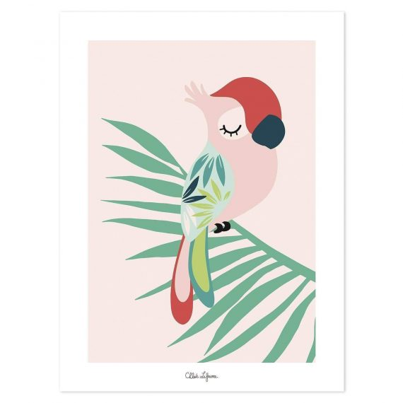 Tropical Parrot Pink Poster – 30×40 cm